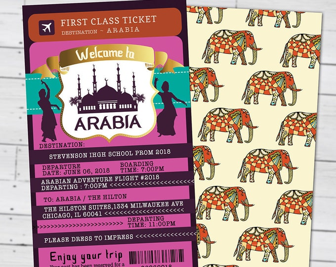 Prom, PASSPORT and TICKET invitation, Morocco, Arabia, Arabian Nights, Bollywood- travel birthday party invitation, Ethnic, School dance