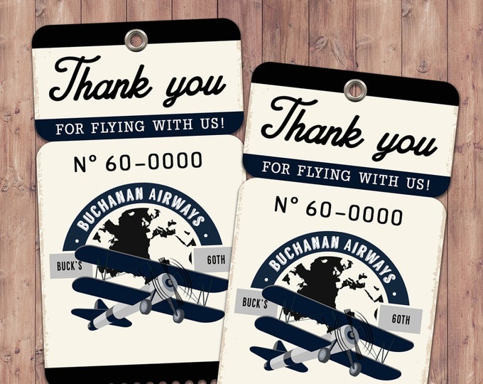 Vintage Airplane, birthday, luggage tag- Vintage / Rustic / Airplane / Birthday Party, first birthday, airplane, 1st, 60th