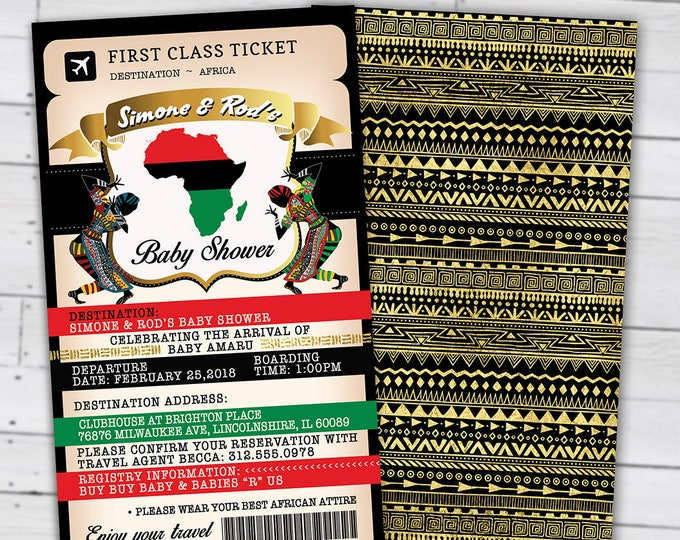 African passport, Ticket baby shower invitation, Birthday invitation, African, Africa Passport, African Birthday, Digital files Only