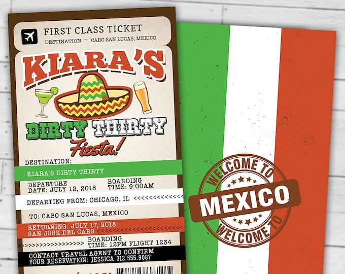 Passport and ticket birthday invitation, travel birthday party invitation, cruise invitation, Mexico, Digital files only