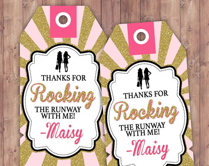 Rock the Runway favor tag, - pop-star- rockstar party, fashion birthday, high fashion, runway, tag, sticker, label, Birthday favor