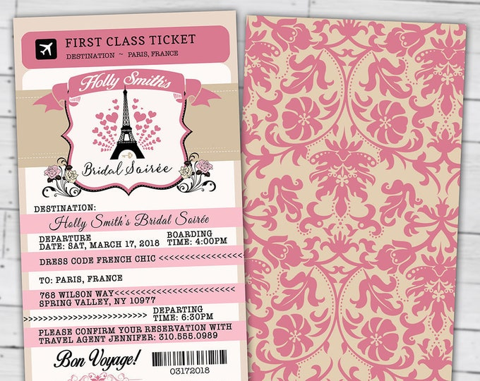 PASSPORT and TICKET, Sweet 16, bridal shower invitation Girl birthday party, travel birthday party invitation- Paris, Digital files only