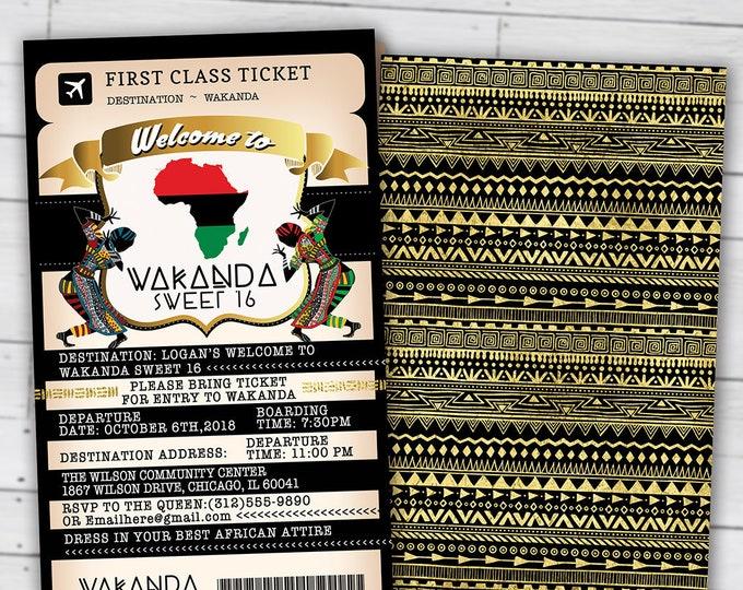 PASSPORT and TICKET Birthday invitation, Wakanda, Africa Passport, African Birthday, African Birthday, Digital files only