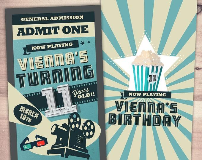 Movie ticket Invitations - birthday movie theater invite, Movie Night Invitation - Movie Night Party, movie birthday, retro film