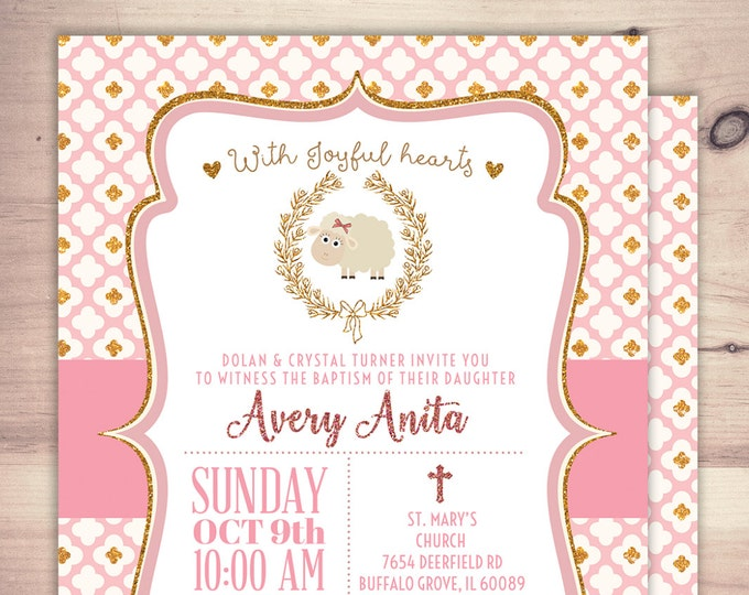 Lamb Baptism Invitation, Christening,Pink Girls Little Lamb Christening Invitation, little lamb, baby sheep, sheep, invitations