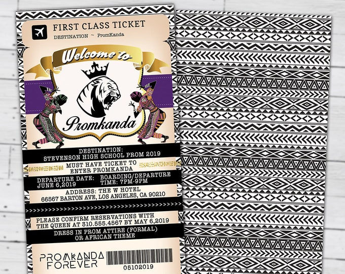 PASSPORT and TICKET Prom invitation, Birthday invitation, Wakanda, Africa Passport, African Birthday, Panther, Digital files only