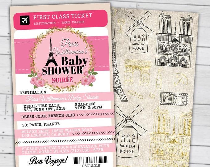 PASSPORT and TICKET baby shower invitation, Baby girl- wedding shower invitation- Paris, Eiffel tower, first birthday,Digital files only