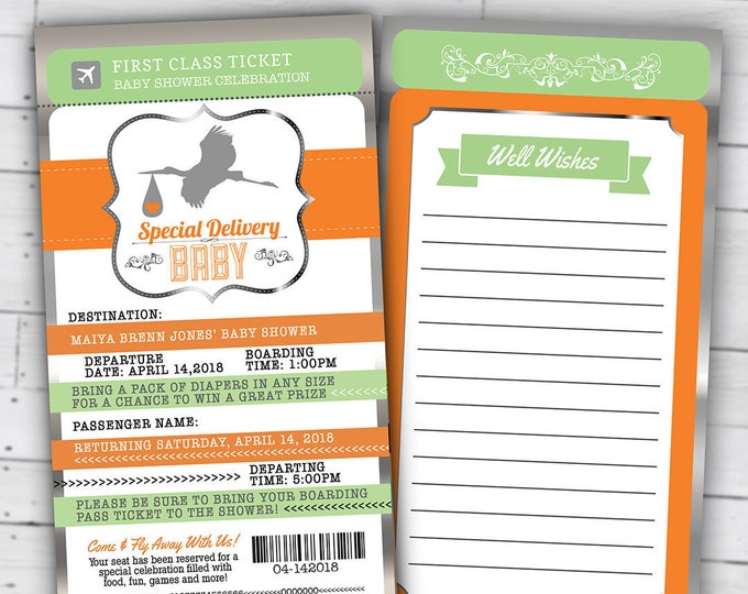 PASSPORT and TICKET baby shower invitation! Coed baby shower invitation- travel baby shower invitation- couples baby shower, Digital files
