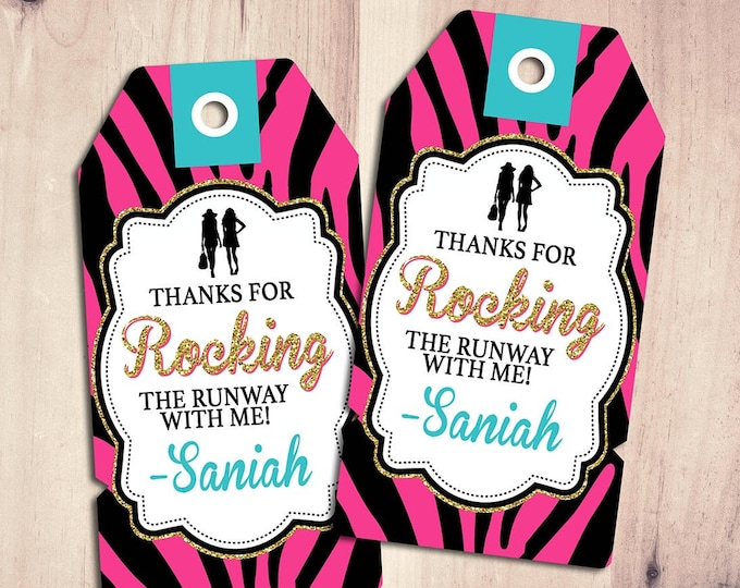 Rock the Runway favor tag, - pop-star- rockstar party, fashion birthday, high fashion, runway, tag, sticker, label, Zebra print