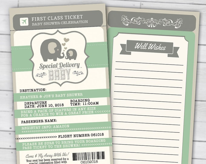 PASSPORT and TICKET baby shower invitation, Coed baby shower invitation- travel baby shower invitation- couples baby shower, gender neutral