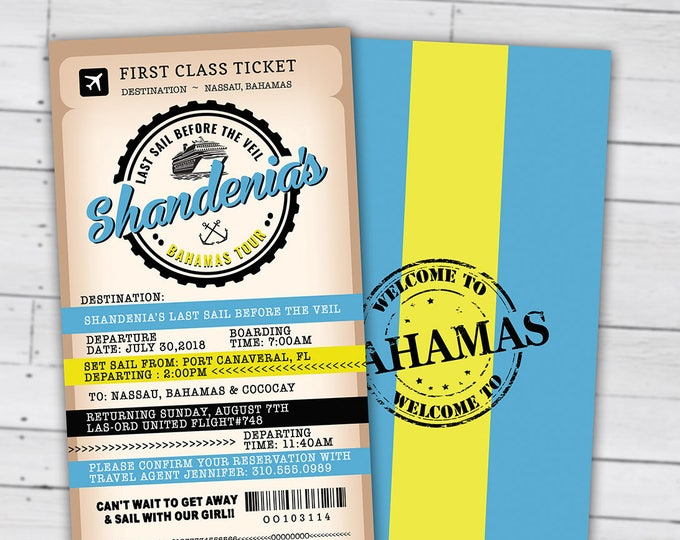 Passport and ticket birthday invitation, travel birthday party invitation, cruise invitation, Bahamas, Digital files only
