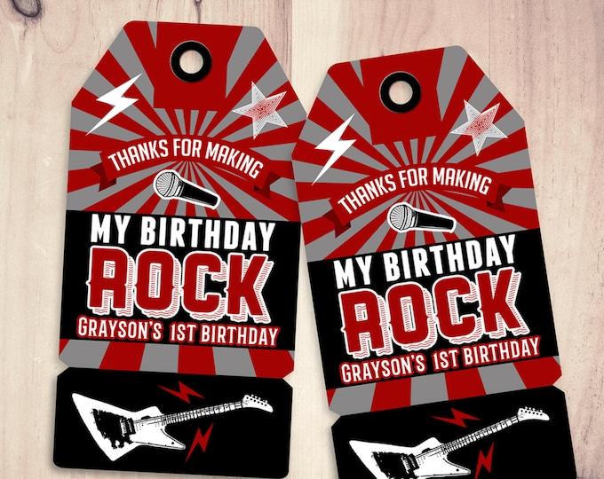 Party favor tag, Rock Star birthday, favor, boy birthday, personalized label, rock star party, rock star birthday, rock star, printable