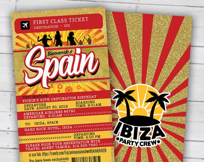 PASSPORT and TICKET birthday invitation, travel birthday party invitation, cruise invitation, Ibiza, Spain, Digital files only