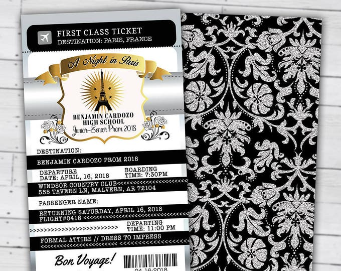 Paris,Prom,PASSPORT and TICKET invitation, Birthday invite, bridal shower, Homecoming, prom, passport invitation, dance, Digital files