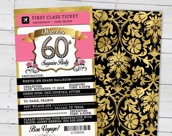 PASSPORT and TICKET birthday invitation, Paris birthday party invitation- travel birthday party invitation- Paris, 40th, surprise,50th, 30th