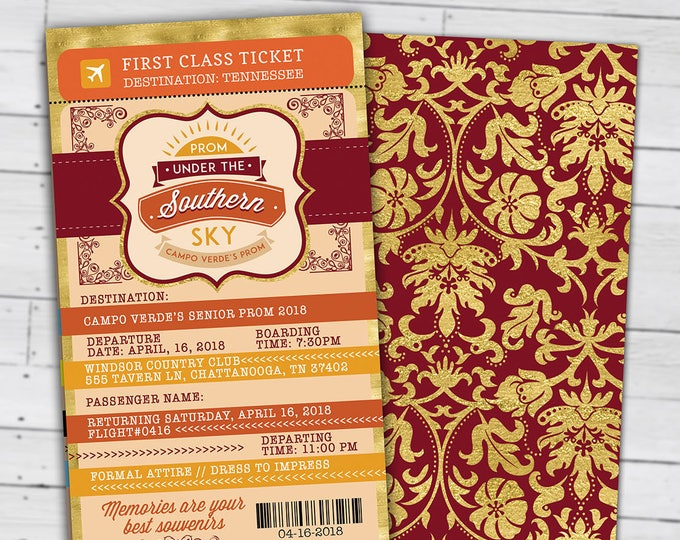 Southern, Tuscan,Prom,PASSPORT and TICKET invitation, Birthday party invitation- travel theme, wedding, homecoming, digital files