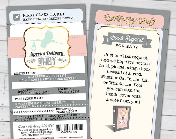 PASSPORT and TICKET baby shower invitation! Coed baby shower invitation- travel, Digital files Only- couples baby shower, gender reveal