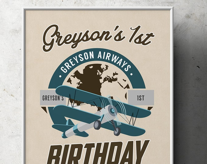 Party signs, Vintage Airplane, birthday, luggage tag- Vintage, Airplane / Birthday Party, first birthday, 1st, 60th