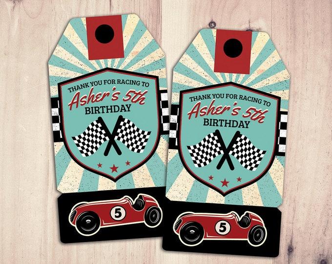 Retro Race Car favor tag | Vintage Race Car tag | Race Car Birthday, hot rod, boy birthday, car printable, motorcycle