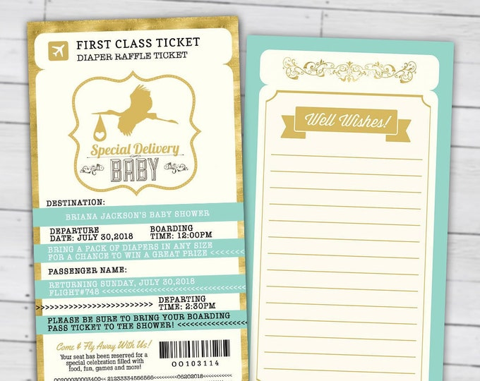 Diaper raffle, PASSPORT and TICKET baby shower invitation! Coed baby shower invitation- travel baby shower invitation- couples baby shower