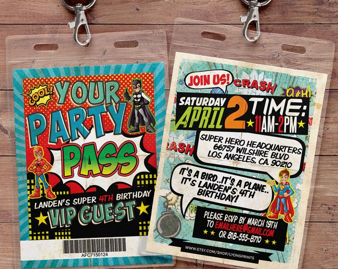 Super Hero party invitation, boy birthday invitations, comic invitation, retro comic, super hero birthday, Hero party