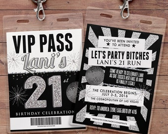 White party, VIP PASS, 21st birthday, backstage pass, concert ticket, birthday invitation, wedding shower, Digital files