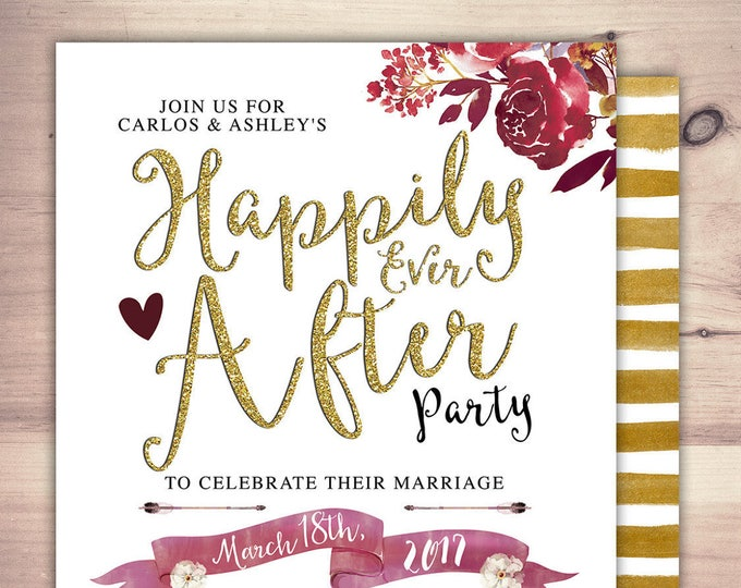 Happily ever after invitation, BOHO wedding shower Invitation, couples shower, arrows, Tribal, wedding, bridal shower invitation