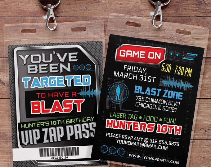 Laser tag invitation - VIP pass birthday invitations for laser tag party - Boys birthday party invitation - laser gun, video game, XBOX