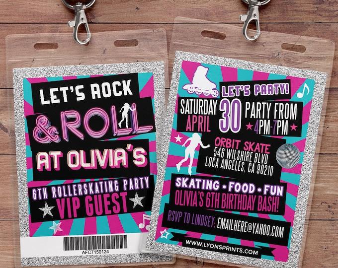 Retro, neon, VIP PASS, backstage pass, Vip invitation, birthday invitation, pop star, roller-skate party VIP, 80s, 90s, throwback party