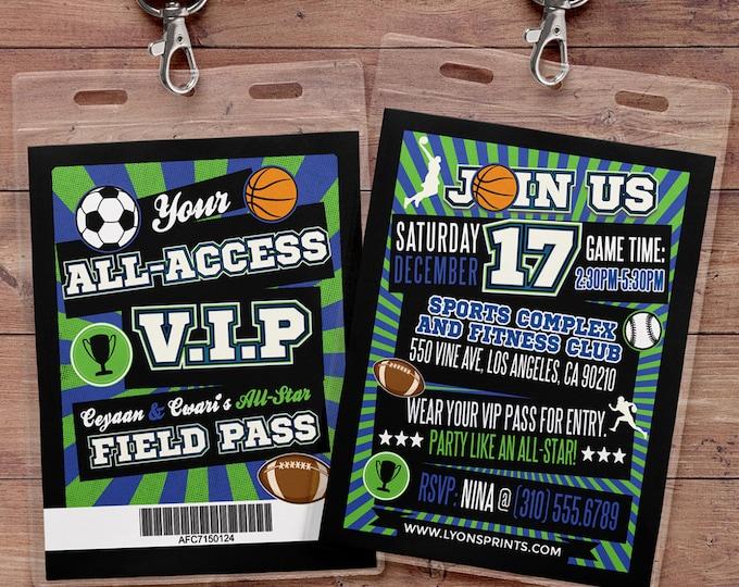 All-Star, Field Pass, Football Invitation //  All Star Birthday //  VIP pass, BIRTHDAY invitation, sports birthday, basketball, baseball