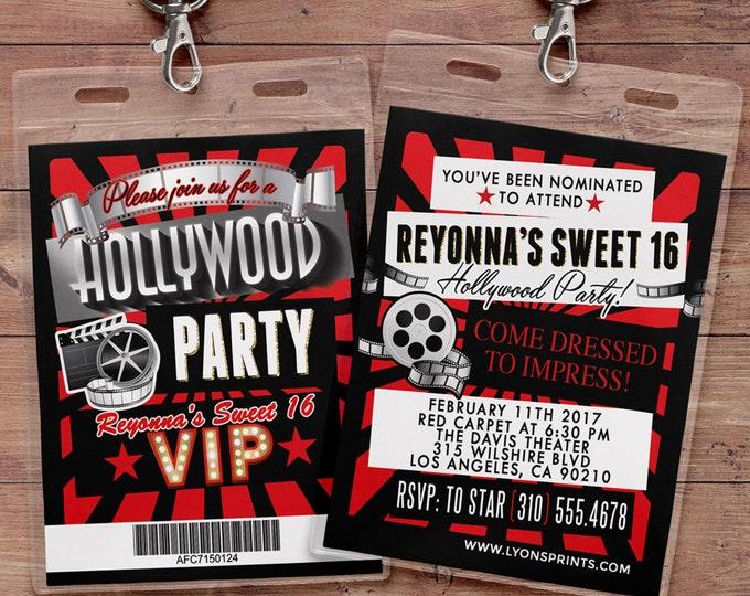 VIP Pass Birthday Invitation, Hollywood Birthday Invite, Red Carpet Sweet 16 Invitation, Hollywood Party