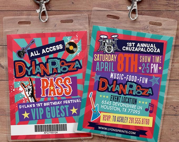 Rock Star, VIP PASS, backstage pass, Vip invitation, birthday, pop star, rock star birthday, roller-skate party VIP, 80's