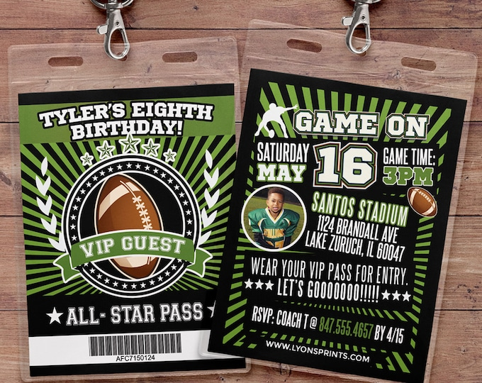 Football ticket Invitation // Super Bowl, All Star Birthday //  VIP pass, BIRTHDAY invitation, sports birthday, football baby shower