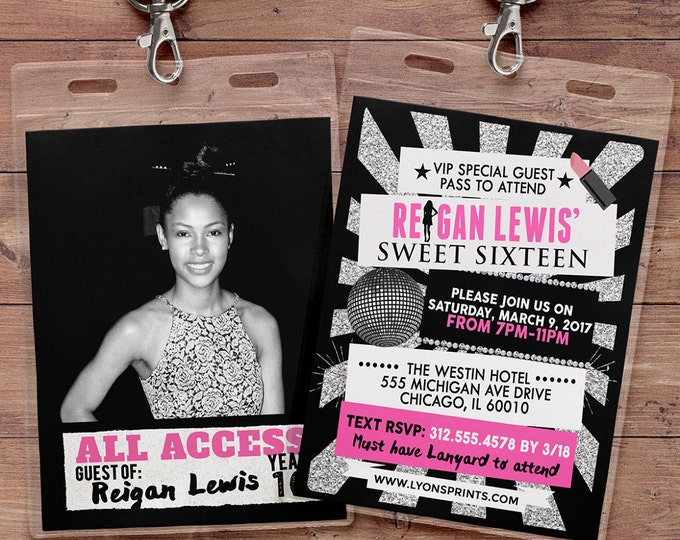 VIP PASS, Sweet 16, 21st birthday, backstage pass, concert ticket, birthday invitation, baby shower, bachelorette party, Fashion, Runway