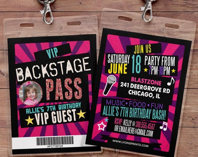 birthday invitation, rock star, VIP PASS, backstage pass, concert ticket, birthday invitation, wedding, baby shower, party favor