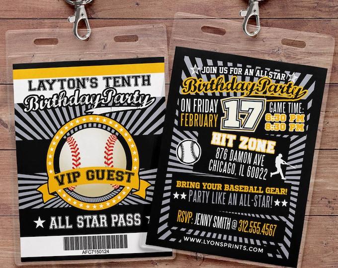 Baseball ticket Invitation // All Star Birthday //  VIP pass, BIRTHDAY invitation, Digital files, sports birthday, little slugger, sports