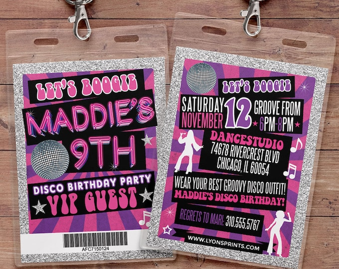 Disco, Retro, neon, VIP PASS, backstage pass, Vip invitation, birthday invitation, pop star, bridal shower invite, Rock Star birthday,