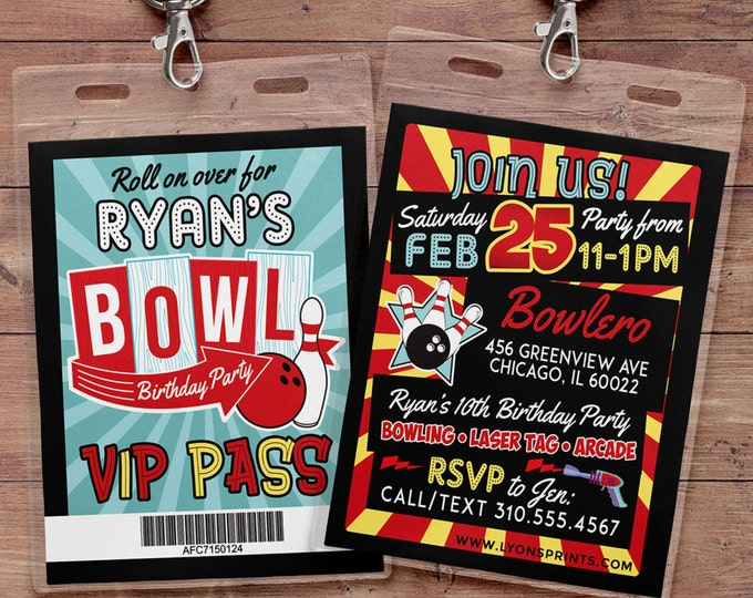 Bowling Invitation - Bowling Birthday Party Invite - Laser tag invitation, Bowling, girl bowling, VIP pass, retro bowling, bowling, Strike