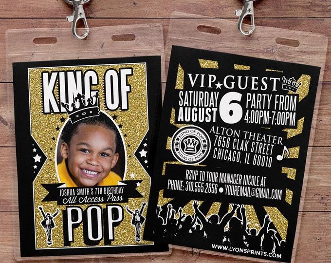 King of pop, Hip Hop, VIP PASS, backstage pass, Vip invitation, birthday invitation, pop star, lanyard, Rock Star birthday