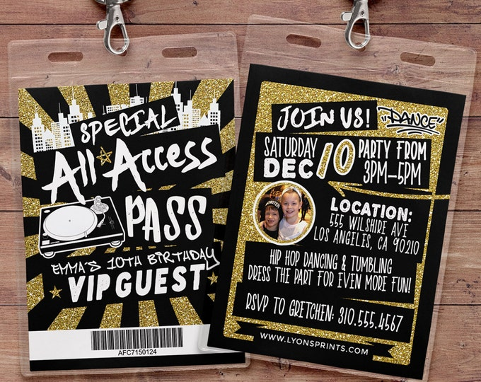 Hip hop, Retro, neon, VIP PASS, backstage pass, Vip invitation, birthday invitation, pop star, Rock Star birthday, Digital files