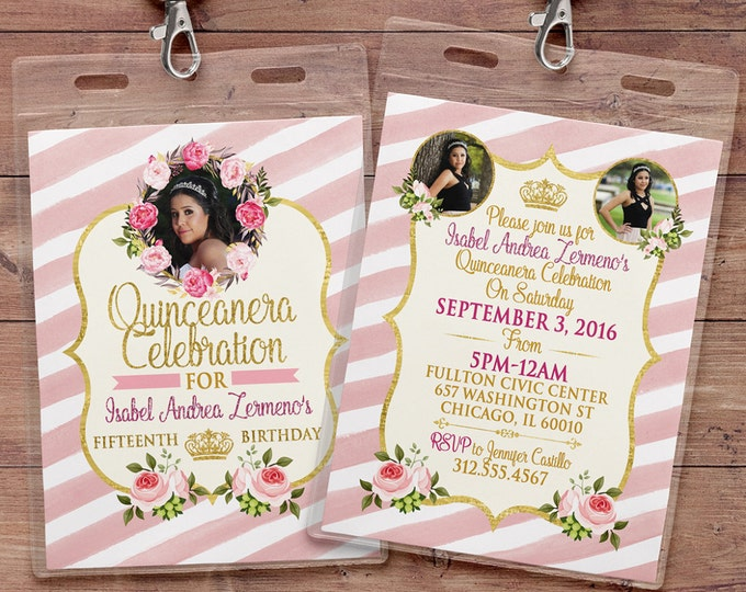 ANY AGE, Princess Invitations - Princess Birthday Party Invitations, first birthday, 1st birthday, VIP pass, Quinceanera, sweet 16, floral