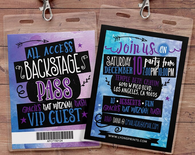 Tie Dye, Art party, watercolor, VIP PASS, backstage pass, Vip invitation, birthday invitation, Bat Mitzvah,  lanyard, Rock Star birthday,