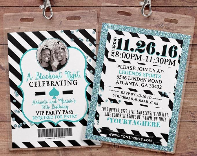 VIP PASS, invitation, Spade party, white party, 21st birthday, sweet 16, birthday invitation, wedding, baby shower, bridal shower