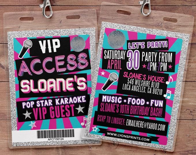 Disco, Retro, neon, VIP PASS, backstage pass, Vip invitation, birthday invitation, pop star, bridal shower invite, Rock Star birthday,
