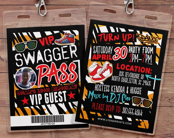 Hip Hop, Swagger, VIP PASS, backstage pass, Vip invitation, birthday invitation, pop star, lanyard, Rock Star birthday, animal print