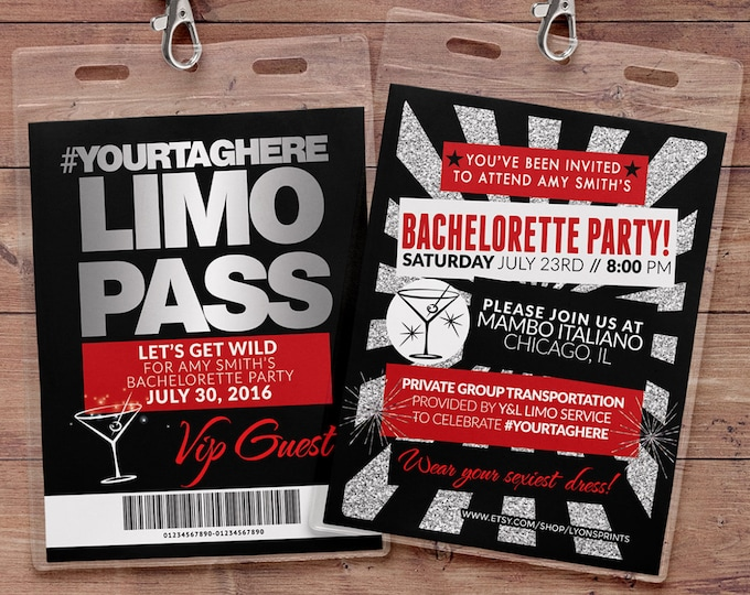 VIP PASS, Limo pass, Bachelorette party, 21st birthday, backstage pass, cocktail party, birthday invitation, wedding, bachelor, party bus
