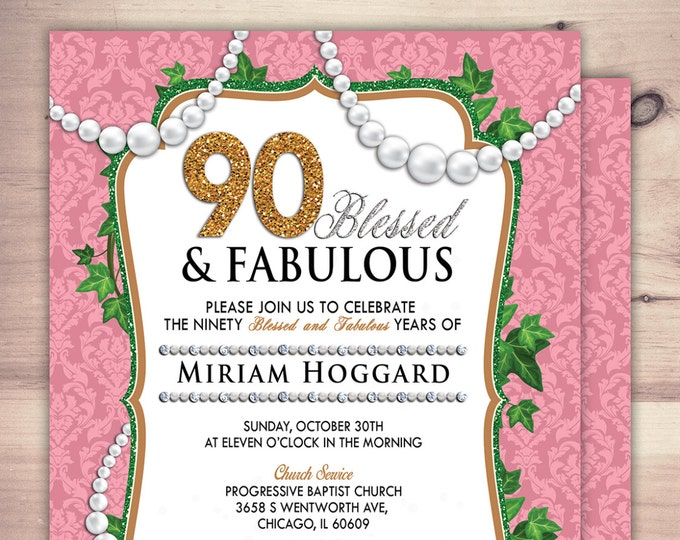30th, 40th, 50th, 60th, 70th, 80th, 90th Surprise Birthday Party Invitation, adult birthday, pearls, glitter, damask, surprise party, floral