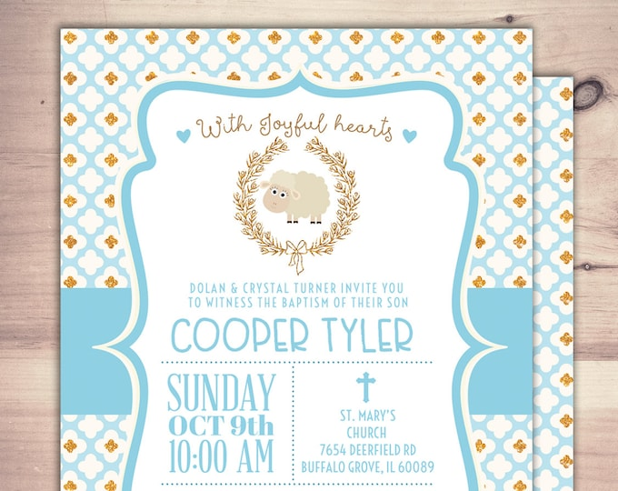 Lamb Baptism Invitation, Christening, Blue Boy Little Lamb Christening Invitation, little lamb, baby sheep, sheep, invitations