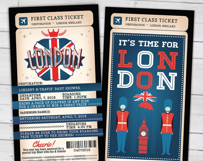 PASSPORT and TICKET, baby shower invitation- travel birthday invitation- London, Union Jack, England, British, Digital files only