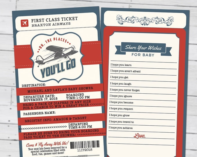 PASSPORT and TICKET baby shower invitation, vintage airplane, travel theme, Precious Cargo, time flies, airplane invite, Digital files only
